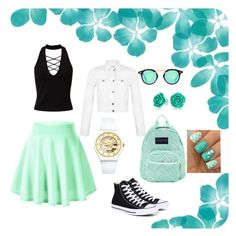 """""""Mint Date"""" by lucysefco on Polyvore featuring Miss Selfridge, Converse, Swatch, JanSport and Bling Jewelry"""