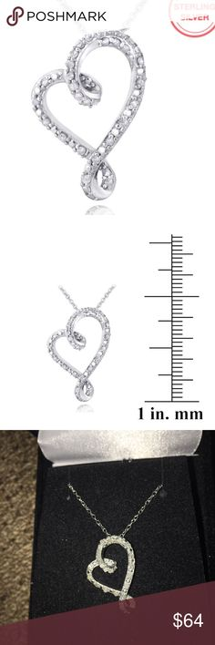 ".25 TCW DIAMOND RIBBON HEART SLIDE NECKLACE NEW .25 TCW DIAMOND RIBBON HEART NECKLACE SET IN STERLING SILVER PENDANT MEASURES APPROX 1"" CHAIN MEASURES APPROX SHORT 16-18"" includes velvet gift box Jewelry Necklaces"