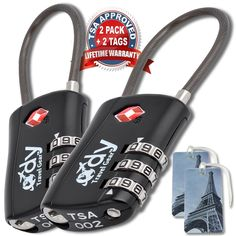 Ody Travel Gear Luggage Locks TSA Approved 2 Pack With Tags *** New and awesome product awaits you, Read it now  : Christmas Luggage and Travel Gear