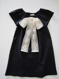 Vintage Inspired girls dress- black linen and cream lace bow by ChasingMIni (Etsy)