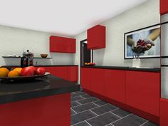 Red kitchen with black countertops. Are you bold enough to go for a red kitchen? Galley Kitchens, Luxury Kitchens, Mini Kitchen, New Kitchen, Red Cabinets, Kitchen Cabinets, Kitchen Trends, Kitchen Ideas, Kitchen Layout