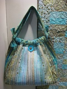 Auntie's Two Bailey Island Hobo Bag featuring Green Tea Tonga Batiks