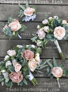 Silk Bridal Bouquet, Pink Rose Bouquet, Rose Wedding Bouquet, Bridal Flowers, Floral Wedding, Blush Wedding Flowers, Champagne Flowers, Flower Girl Bouquet, Blush Champagne Wedding