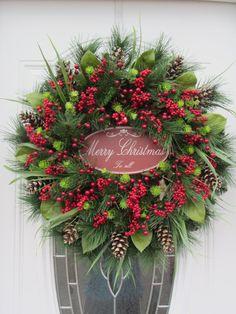 Christmas Door Wreath - Holiday Wreath - Pine Wreath - Winter Wreath. $124.95, via Etsy.