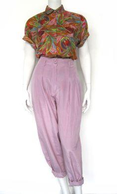 Vintage zijden broek