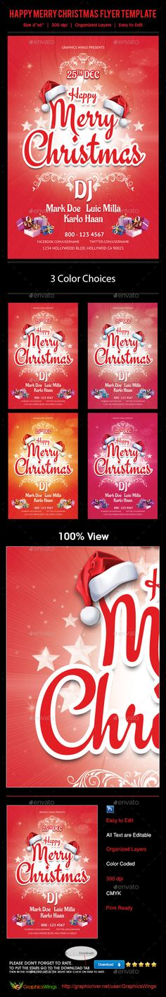 Buy Happy Christmas Flyer Template by kreativenet on GraphicRiver. I've made this file very easy for you to edit. This file is sold e. Christmas Flyer Template, Flyer And Poster Design, All Fonts, Clean Design, Flyers, Icons, Messages, Templates, This Or That Questions