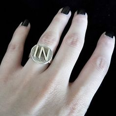 """Sterling Silver """"IN"""" Ring--Fablesintheair.com $150 Made in the USA. Hand signed. #Jewelry #rings #whimsical #SterlingSilver"""