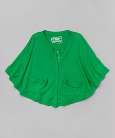 Love this Green Cape-Sleeve Cardigan - would be good for some BUlldogs foosball