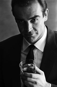 Sean Connery - The original Bond, actor, male, famous, 007, drink, shaken not stirred, photograph, black and white, intense eyes, cool, gentleman