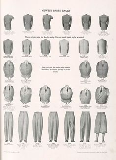 """Newest sport backs: """"free-swing"""", pinch, gathered-pleats, inverted pleat pinches, form-fitting, medium-fitting, conservative, box back;Vests: six-button, regular no collar, tattersall, notch collar, double-breasted; Trousers: regular, regular cut wide waistband; high rise English, drape with two pleats, novelty pleated, knickerbockers."""