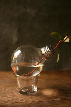 Shabby Chic Decor Lightbulb Vase Glass Vase Cottage by LukeLampCo, $19.00
