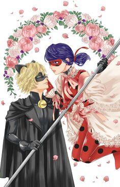 ladybug, ladynoir, and Chat Noir image