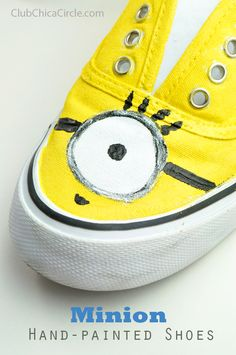 Minion inspired hand painted shoe design by Club Chica Circle.