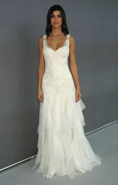 A wedding gown made for dancing...could just see a bride and groom sweeping the floor doing the tango. Plus it has straps!   Sarah Janks tiered Wedding Dress- Dahlia, Fall 2014 - Wedding Dresses and Fashion Ideas