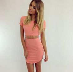 peachy coral  two piece set, skirt and crop top