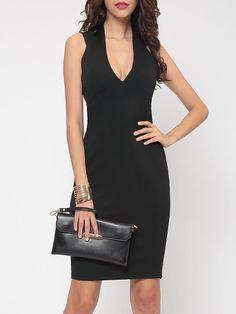 #AdoreWe #Fashionmia Fashionmia❤️Designer Womens Cut Out Plain Enticing Deep V Neck Bodycon Dress - AdoreWe.com