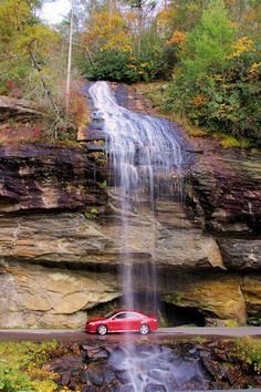 Bridal Veil Falls This is the only waterfall in North Carolina that you can drive under! The 60-foot Bridal Veil Falls doesn't have a large volume of water. But it's along the highway, so it's convenient. Bridal Veil is easy to find. Just look for the sign on U.S. 64, 2.5 miles west of Highlands in the Cullasaja River Gorge.