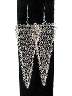#Wire #crocheted #earrings, statement geometric shoulder dusters.. $27.00, via Etsy.