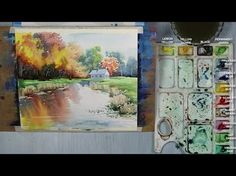 How to Paint An Autumn Landscape in Watercolor - YouTube