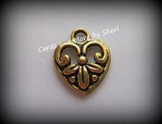 Tibetan Style Heart Pendant Charms  50 by CardsAndMoreBySheri, $6.00