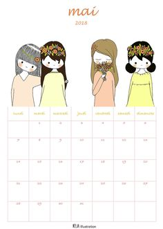 Calendrier printable mai 2018 Illustration, Printables, Comics, Family Portraits, Paper Mill, Objects, Cards, Print Templates, Illustrations