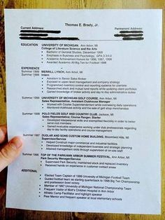 College Resume This Is What Tom Brady's Postcollege Resume Looks Like  College