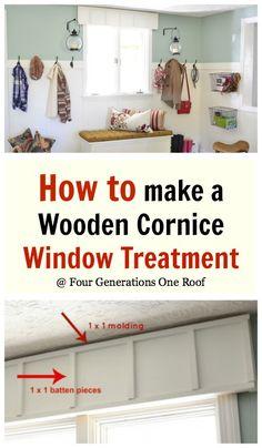 DIY wooden cornice board window treatment @Four Generations One Roof