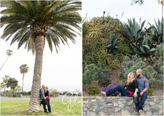 Laguna Beach Engagement Session! Orange County Photographer, CA, Cali, California, Engagement, Happy Couple, Love, Romance, In Love, Beautiful, Smiles, Outdoors, Plants, Holding Hands, Cuddling, Red Shirt, Cork Wedges, Button Down, Beard, Bald, Looking at Each other, Palm Tree, Succulents, Kissing, Kiss, Laguna Beach  GilmoreStudios.com