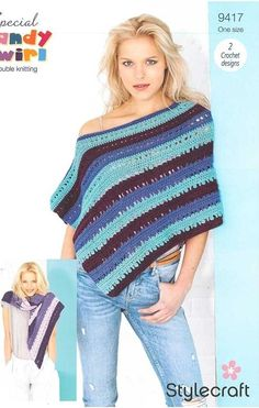 """""""It's impossible to be unhappy in a poncho."""" Create this stunning crochet shawl and poncho combo in a variety of brilliant colourways using the delightful new Special Candy Swirl from Stylecraft. Crochet Shawl, Crochet Top, Crochet Designs, Yarn Cake, New Cake, How To Make Notes, Candy, Stitch"""