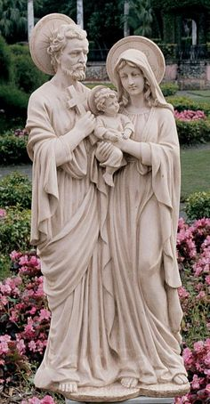 Holy Family Statue: At three-and-a-half feet tall, it is a contemplative piece for your home or garden. This is a solid resin statue Catholic Art, Religious Art, Catholic Quotes, Marian Garden, Sacred Garden, Jesus E Maria, Outdoor Garden Statues, Virgin Mary Statue, Prayer Garden