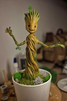 Polymer clay Groot