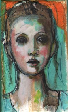 mixed media faces | This is a 3″X5″ mixed media painting on canvas. The sides are 1.5 ...