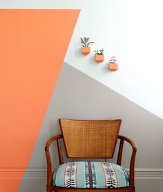 Home Interior Decoration RDH Coral: The perfect mix of pink and orange. Soft enough for a whole room and bold enough for an accent wall. Part of RDH Collection A collaboration between Colorhouse and Revolution Design House Geometric Wall Paint, Geometric Decor, Coral Walls, Peach Walls, Diy Wall Painting, Bedroom Decor, Wall Decor, Bedroom Wall Designs, Accent Wall Designs