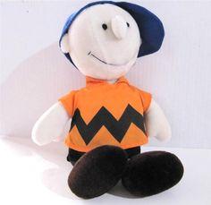 "Charlie Brown Doll in Baseball Cap Plush Peanuts Gang 15.5"" tall Determined Prod $19.99 #CharlieBrown #Peanuts at JustLuvTreasures.com"