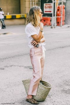 Pink trousers and white blouse