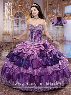 Strapless, taffeta ball gown with sweetheart neckline, basque waist, corset bodice, sequins, embroidery and ruffle-tired skirt with lace- up back and bolero.purple/multi Colored Wedding Dresses, Wedding Bridesmaid Dresses, Crinoline Dress, Fancy Gowns, Ball Gown Dresses, 15 Dresses, Quince Dresses, Sweet 16 Dresses, Quinceanera Dresses