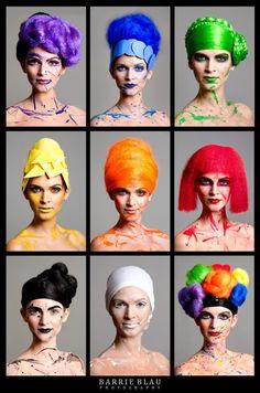 model Alyson Allegra, photo by Barrie Blau, makeup by Mariluz West Color Mixing, Color Pop, Magical Makeup, Rainbow Colors, Bright Colors, Rainbow Connection, Learn Art, Hair Art, Headgear