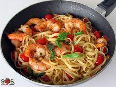 Recette - Pâtes aux crevettes, tomates et basilic   SOS Cuisine SOS Cuisine LE SITE ESSENTIEL DE LA BOUFFE...UN MUST