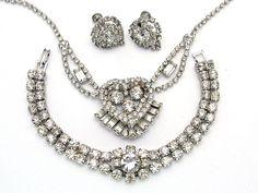 vintage costume earrings rhinestone - Google Search