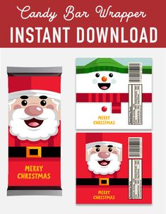 SALE Christmas Candy Bar Wrappers labels - santa claus snowman Hershey Candy Bar Wrappers labels - christmas decoration - christmas printables - instant download - favor labels wrapper - mineral water label - santa printable - Christmas DIY kit - DIY christmas - christmas print - xmas printable - christmas party - digital download - digital printable - red snow labels -  Hershey's 1.55 oz - holiday printable - holiday DIY decoration -  holiday labels - printable christmas - party printable Christmas Candy Bar, Christmas Christmas, Xmas, Holiday, Hershey Candy Bars, Hershey Bar, Candy Bar Labels, Candy Bar Wrappers, Christmas Printables