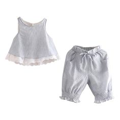 UWESPRING Baby Girls Casual Outfits Lace Vest Tops+Knee Length Pants Sets 2T. Material: 90%Cotton, Breathable Fabric, Wear Comfortable and very Soft. Style: Fashion,Casual,Classic. Brand new with high quality. Occasion:all-match,For party,birhtday,home,school,outdoor,wedding,beach,sports,outdoor,any occasion. Amazon standard size chart is not our actual size .To make sure please refer to size detail listed in product description. Thank you!.