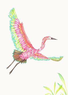 GREAT EGRET BIRD ART PRINT - colourful exotic birds illustration limited edition