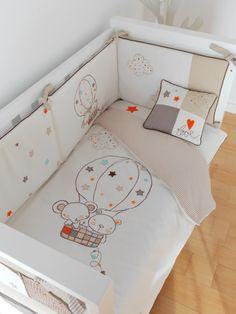 Colección Textil habitación del bebé globo lino, www.dindonbebe.com