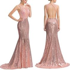2017 Rose Gold Sequin Cheap Open Back Mermaid Lace Prom Dress, Bridesmaid Dress, PD0384