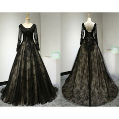Vintage Lace Sequin Beaded Black Long Evening Gown with Sleeves/Unique... ($415) ❤ liked on Polyvore featuring dresses, sexy prom dresses, long sleeve dress, long prom dresses, sequin dresses and backless prom dresses