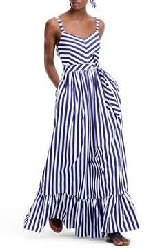 adac532a2244 J.Crew Cotton Stripe Ruffle Maxi Dress