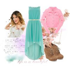 A fashion look from October 2013 featuring blue formal dresses, leather jackets and platform booties. Browse and shop related looks. Cute Teen Outfits, Outfits For Teens, New Outfits, Fashion Outfits, Teen Girl Fashion, All Fashion, Violetta Outfits, Spring Outfits For School, Movie Inspired Outfits