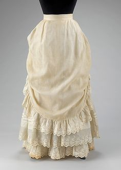 Cotton and linen petticoat (American), 1883.  From the Metropolitan Museum of Art.