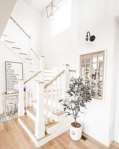 Your daily dose of Inspiration: white light natural wood staircase foyer, coastal farmhouse Foyer Staircase, White Staircase, Staircase Design, Staircases, Curved Staircase, Staircase Ideas, Farmhouse Stairs, Farmhouse Interior, Farmhouse Chic
