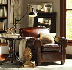 reading nook with comfy leather chair, touches of brass, good reading lamp, large-scale mirror Leather Furniture, Home Furniture, Cosy Home, Leather Club Chairs, Reading Nook, Living Room Decor, Family Room, Armchair, Decoration
